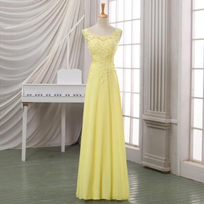 2016 New arrival yellow lace evening dress,lace appliqued V back evening dress/prom dress,yellow maxi dress,yellow lace pageant dress.