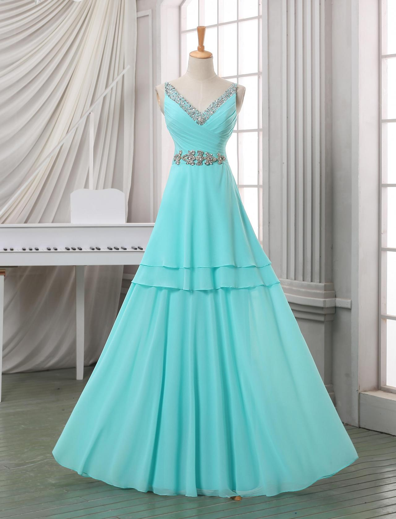 Custom long prom dress with beadings and crystals, deep V neck prom dress,baby blue floor length prom dress,cheap prom dress.
