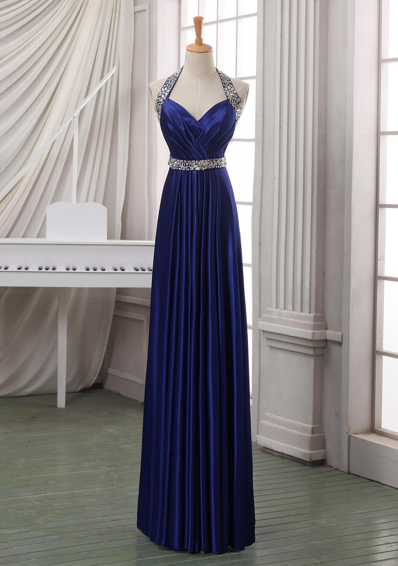 Prom dress,Navy blue long prom dress,haler backless prom dress,long satin prom dress/evening dress/formal dress/wedding party dress wirth beading sash.