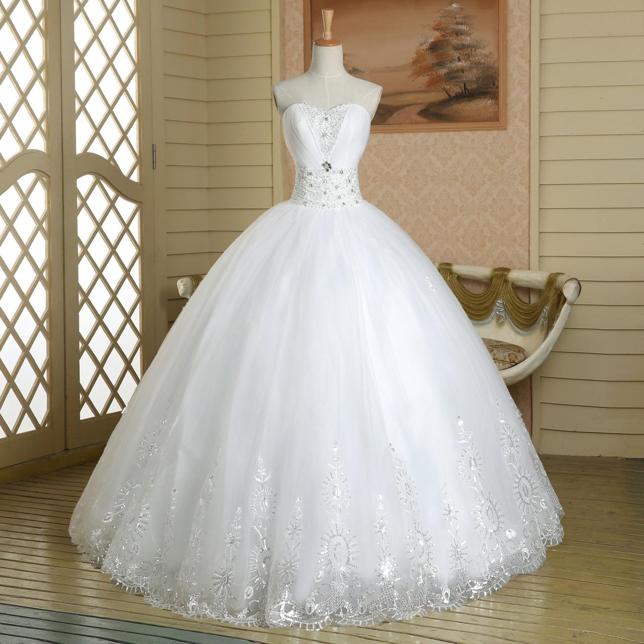 White pageant quinceanera beaded crystal sparkly royal for White sparkly wedding dress