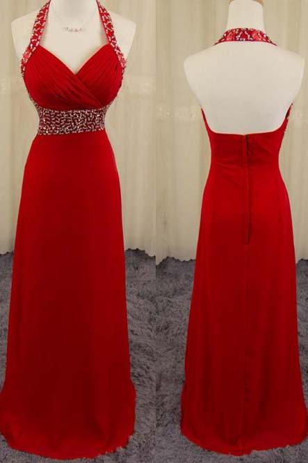 Long Beading Prom Dresses ,Sexy Back Party Dresses, chiffon prom Dresses ,Beading Evening Dresses,Party Dresses,Long chiffon Prom Dress