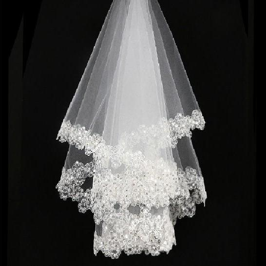 Bridal Wedding Veil One-tier LACE Cathedral Veils Cut Edge