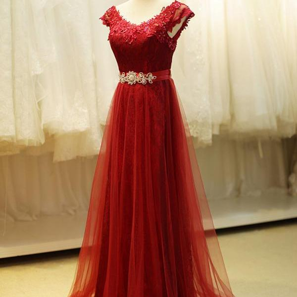 Prom Dresses 2016 New Arrival Women Boat Neck Lace Red Plus Size Long Chiffon Prom Dresses